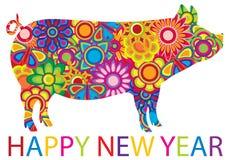 Ilustração colorida chinesa do porco do ano novo Fotos de Stock