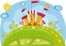 Ilustração colorida com um castelo Foto de Stock Royalty Free
