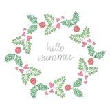 Ilustração colorida da grinalda do verão do moderno do vintage do vetor olá! Imagem de Stock Royalty Free