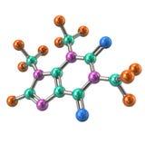 Ilustração colorida da molécula 3d da cafeína Imagem de Stock