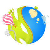 Ilustração colorida de um planeta pequeno bonito Foto de Stock
