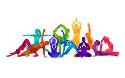 Ilustração colorida detalhada da ioga da silhueta Conceito da aptidão gymnastics ilustração do vetor