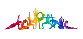 Ilustração colorida detalhada da ioga da silhueta Conceito da aptidão gymnastics AerobicsSport ilustração do vetor