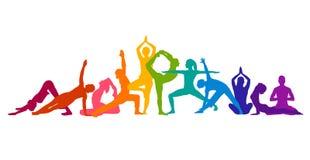 Ilustração colorida detalhada da ioga da silhueta Conceito da aptidão gymnastics AerobicsSport ilustração royalty free