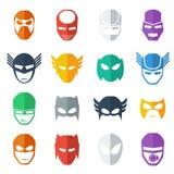 Ilustração colorida do ícone da máscara do super-herói, estilo liso Fotos de Stock