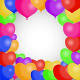 A ilustração colorida do balão do aniversário, um grupo de aniversário realístico balloons Imagens de Stock