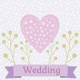 Ilustração colorida do casamento com pombas do amor Imagens de Stock Royalty Free