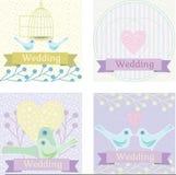Ilustração colorida do casamento com pombas do amor Imagens de Stock