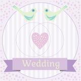 Ilustração colorida do casamento com pombas do amor Foto de Stock Royalty Free