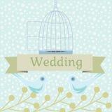 Ilustração colorida do casamento com pombas do amor Fotos de Stock