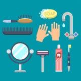 Ilustração colorida do chuveiro moderno dos ícones do equipamento do banho para o projeto interior do vetor da higiene do banheir ilustração stock