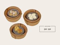 Ilustração colorida do dim sum Ilustração do vetor do cu chinês Imagens de Stock
