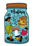 Ilustração colorida do frasco com presentes do outono Foto de Stock Royalty Free
