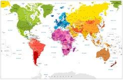 Ilustração colorida do ponto detalhado do mapa do mundo Imagens de Stock