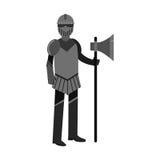 Ilustração colorida do terno completo medieval da armadura do caráter do cavaleiro ilustração royalty free