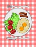 Ilustração colorida do vetor do café da manhã inglês típico Fotografia de Stock Royalty Free
