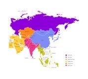 Ilustra??o colorida do vetor com o mapa simplificado de pa?ses de ?sia Beiras e nomes de estados Todas as regi?es asi?ticas ilustração royalty free