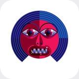 Ilustração colorida do vetor da cara da personalidade feita do geometri Imagens de Stock