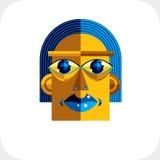 Ilustração colorida do vetor da cara da personalidade feita do geometri Fotos de Stock Royalty Free