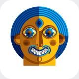 Ilustração colorida do vetor da cara da personalidade feita do geometri Fotos de Stock