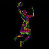 Ilustração colorida do vetor da nuvem da palavra da tipografia do basquetebol Imagem de Stock Royalty Free
