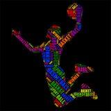 Ilustração colorida do vetor da nuvem da palavra da tipografia do basquetebol Fotografia de Stock Royalty Free