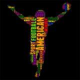 Ilustração colorida do vetor da nuvem da palavra da tipografia do futebol americano Imagem de Stock
