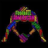 Ilustração colorida do vetor da nuvem da palavra da tipografia do futebol americano Fotos de Stock