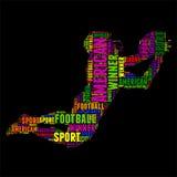 Ilustração colorida do vetor da nuvem da palavra da tipografia do futebol americano Fotografia de Stock Royalty Free
