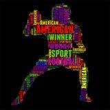 Ilustração colorida do vetor da nuvem da palavra da tipografia do futebol americano Foto de Stock