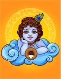 A ilustração colorida do vetor de um deus indiano Krishna encontra-se em uma nuvem com um potenciômetro Foto de Stock Royalty Free