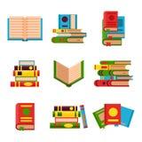 A ilustração colorida do vetor do livro aprende o livro de texto aberto e fechado do estudo da literatura da educação do conhecim ilustração royalty free