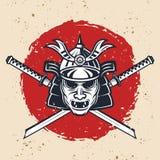 Ilustração colorida do vetor do vintage da máscara do samurai imagem de stock