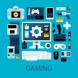Ilustração colorida lisa sobre videogames, gamers e o entretenimento eletrônico Imagens de Stock