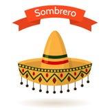 Ilustração colorida nacional mexicana do vetor do sombreiro do chapéu Fotografia de Stock