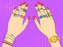 Ilustração colorida pop art do vetor Mãos das mulheres na joia, nos anéis, na joia, nos relógios e na joia da forma imitation ilustração stock