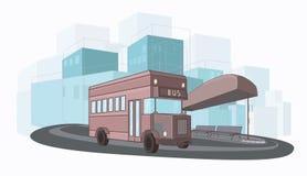 Ilustração colorida urbana do vetor do ônibus da cidade ilustração do vetor