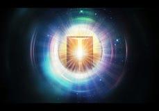 Ilustração colorido artística da rendição 3d da arte finala da porta de um céu mais alto de incandescência da dimensão ilustração do vetor