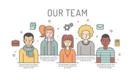 Ilustração colorido da equipe do trabalho do vetor (mulheres e homens) Conceito de projeto do negócio Projeto de Minimalistic Par Fotografia de Stock