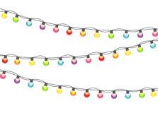 Ilustração colorido de Garland Lamp Bulbs Festive Vetora ilustração stock