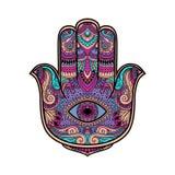 Ilustração colorido de um símbolo da mão do hamsa Mão do sinal religioso de Fatima com todo o olho de vista Estilo do boho do vin Fotografia de Stock