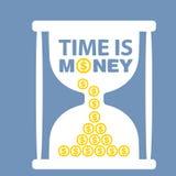 Ilustração com ampulheta Tempo é dinheiro Ilustração Stock