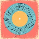 Ilustração com círculo da música e registro de vinil impressos Convite criativo do conceito musical Imagem de Stock Royalty Free