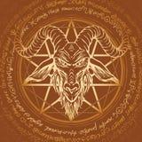 Ilustração com cabeça e pentagram horned da cabra ilustração stock