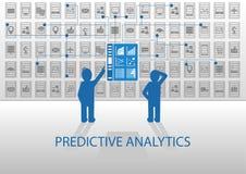 Ilustração com caráter de previsão da analítica Dois analistas que analisam o painel do relatório ilustração stock
