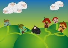 Ilustração com carneiros brancos (nuvens) e ovelhas negras Fotografia de Stock Royalty Free