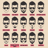 Ilustração com coleção da barba dos homens no fundo branco Imagens de Stock Royalty Free