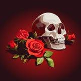 Ilustração com crânio e as rosas vermelhas em um fundo escuro Fotografia de Stock