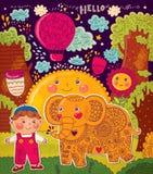 Ilustração com elefante e menino Foto de Stock