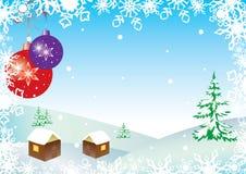 Ilustração com esferas e flocos de neve Fotografia de Stock